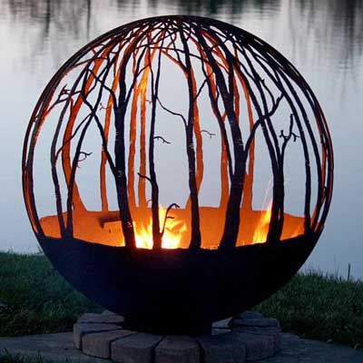 Outdoor Gas Fire Pits non gas sphere winter woods