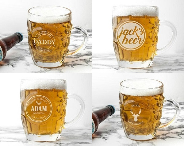 TreatRepublic Personalized Beer Dimple Pint