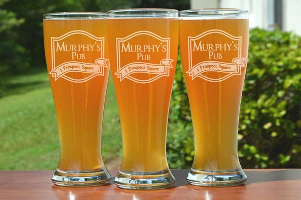 Etched Personalized Beer Pint Glasses Set of 4