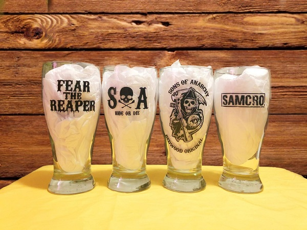 Sons of Anarchy Personalized Beer Pint Glasses Set of 4
